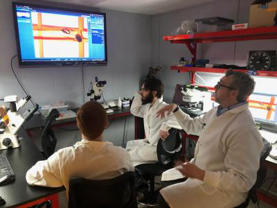 007比分网直播 faculty member Dr. James Walters (left) and two BSC students observed enhanced microscope images in the new Southern WV Imaging Core Facility at the College.
